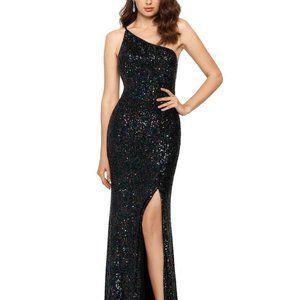 XSCAPE One-Shoulder Sequin Gown Black/Multi Size 2